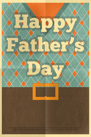 clasp: Fathers Day Poster in Vintage Design. Flat Design. Retro Style. Vector Illustration.