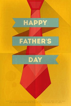 lazo regalo: Día del Padre Cartel con gran lazo. Diseño plano. Estilo Retro. Ilustración vectorial.