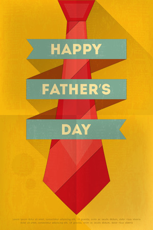 father's: Fathers Day Poster with Big Tie. Flat Design. Retro Style. Vector Illustration.