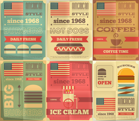 american food: Fast Food Posters Collection in Retro Design Style. Burgers and Hotdogs. Vector Illustration. Illustration