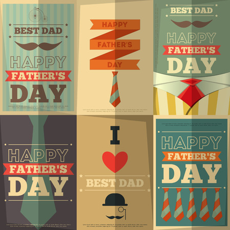 tie: Fathers Day Retro Posters Set. Flat Design. Vintage Style. Vector Illustration. Illustration