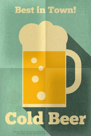 copas: Cartel retro de la cerveza en Retro Design Flat Style. Taza grande de cerveza en el fondo azul. Ilustraci�n vectorial.