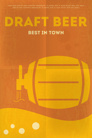 and draft beer: Beer Retro Poster in Flat Design Style. Draft Beer. Vector Illustration.