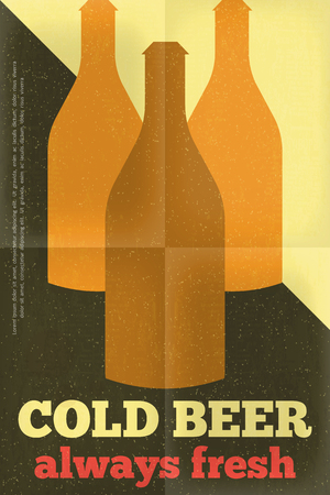 Beer Retro Poster in Flat Design Style. Bottles of Beer. Vector Illustration. Vector