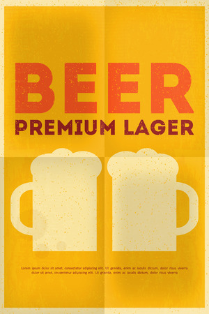 Beer Retro Poster in Flat Design Style. Mug of Beer. Vector Illustration. Vector