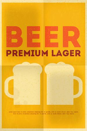 Beer Retro Poster in Flat Design Style. Mug of Beer. Vector Illustration.
