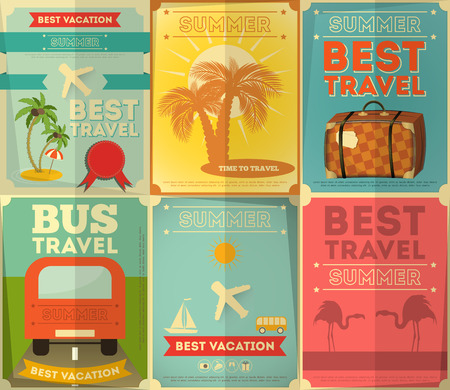 flamingos: Travel Posters Set - Vacation Items in Retro Style - Vintage Design. Vector Illustrations.