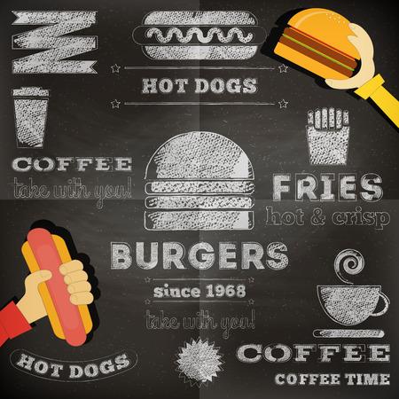 Fast Food Chalkboard Design. Menu Design. Vector Illustration.  イラスト・ベクター素材