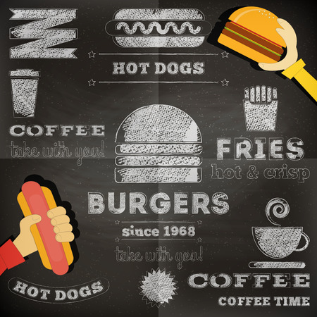 Fast Food Chalkboard Design. Menu Design. Vector Illustration. Иллюстрация