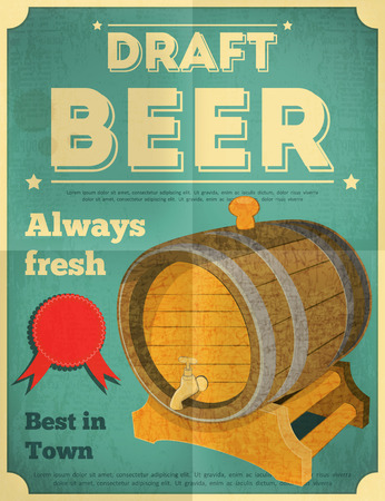 Draft Beer Retro Poster in Vintage Design Style. Beer Barrel. Vector Illustration. Illustration