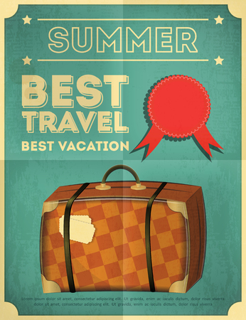 Travel Poster - Vacation Items in Retro Style - Vintage Design. Old Suitcase. Vector Illustrations.  Vector