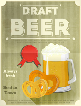 Beer Retro Poster with Mug of Lager Beer and Pretzels. Vector Illustration. Vector