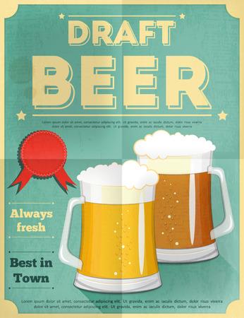 Beer Retro Poster Vintage Design Style. Vector Illustration. Illustration