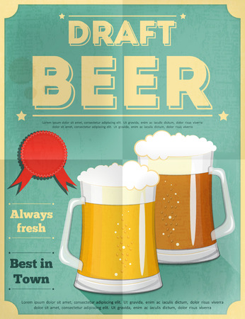 Beer Retro Poster Vintage Design Style. Vector Illustration. Stock Illustratie