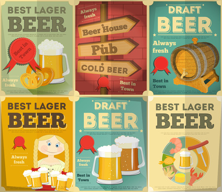 Beer Retro Posters Collection in Vintage Design Style. Vector Illustration. Illustration