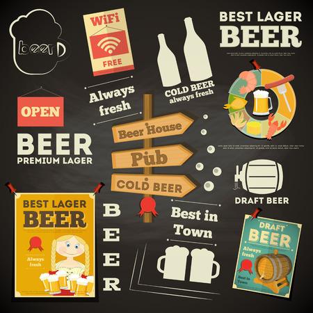 cerveza negra: Beer Menú Pizarra Diseño. Ilustración del vector.