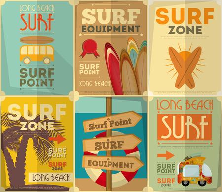 planche: Surf Retro Affiches Collection en Vintage Style Design. Illustration vectorielle.