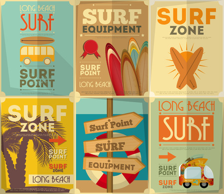 poster background: Surf Retro Poster Collection in Vintage Design Style. Illustrazione vettoriale.