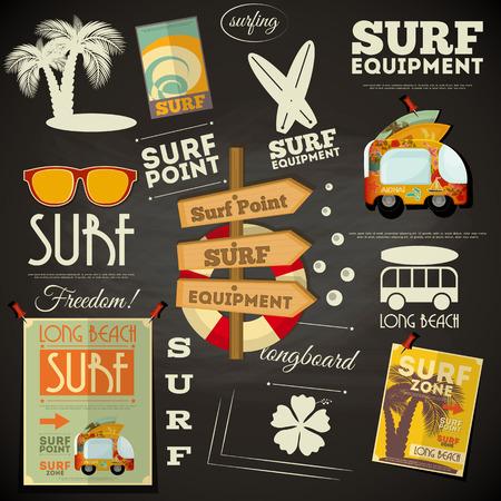 surf vector: Surf Retro Poster in Chalkboard Design Style. Vector Illustration.