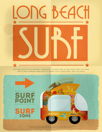 Surf Retro Poster with Bus in Vintage Design Style. Vector Illustration.