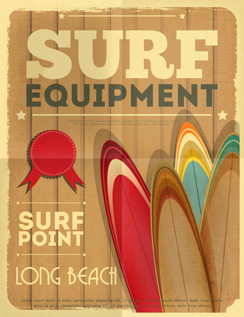 surfboard: Surf Retro Poster with Surfboards in Vintage Design Style. Vector Illustration.