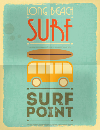surfboard: Surf Retro Poster with Bus in Flat Design Style. Vector Illustration.