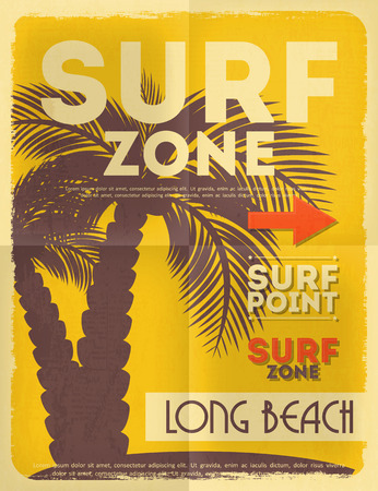 Surf Retro Poster with Palm in Vintage Design Style. Vector Illustration.