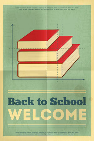 classbook: Back to School Poster in Retro Style with Classbook. Vector Illustration.