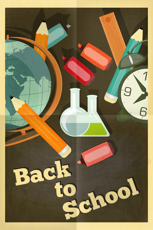 Back to School Poster - School Supplies on Chalkboard -  in Retro Style. Vector Illustration.