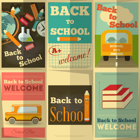 Back to School Posters Collection in Retro Style. Vector Illustration. Vector