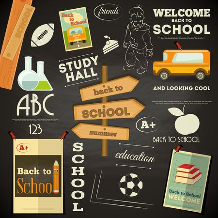 vector school: School Supplies on Chalkboard. Back to School Poster in Retro Style. Blackboard. Vector Illustration.