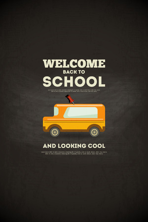 school: Chalkboard. Back to School Poster with School Bus  in Retro Style. Vector Illustration.