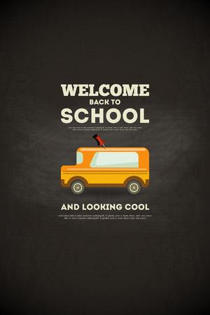 Tafel. Zurück in die Schule mit Schulbus Poster im Retro-Stil. Vektor-Illustration.