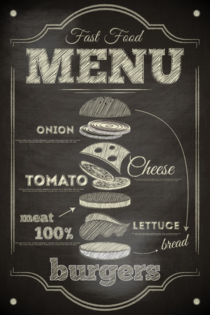 chalkboard: Burger Menu Poster on Chalkboard. Hamburger Ingredients. Vector Illustration. Illustration