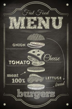 white board: Burger Menu Poster on Chalkboard. Hamburger Ingredients. Vector Illustration. Illustration