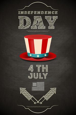 american poster: D�a de la Independencia Poster americano en la pizarra en el estilo retro con el sombrero de copa. Cuatro de Julio. Ilustraci�n vectorial. Vectores