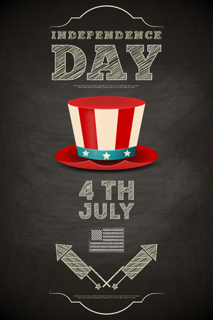 Independence Day American  Poster on Chalkboard in Retro Style with Top hat. Fourth of July. Vector Illustration.  Vector