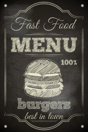 Burger Menu Poster on Chalkboard. Vector Illustration.
