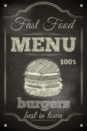 chalkboard: Burger Menu Poster on Chalkboard. Vector Illustration.