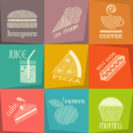 Food Icons Chalk. Layered Vector Illustration. Ilustração