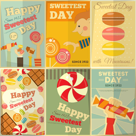 Sweetest Day Posters Set in Retro Style with Sweets. Vector Illustration.