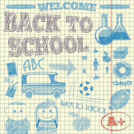 vector school: Back to School Sketch on Lined Sketchbook Paper Background. Vector Illustration. Illustration