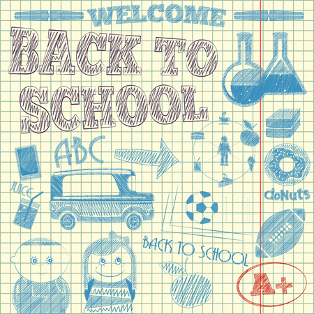 Back to School Sketch on Lined Sketchbook Paper Background. Vector Illustration. Illustration