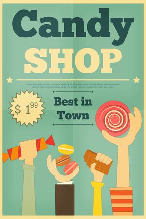 Candy Shop Cartel retro con las manos sosteniendo Sweet. Ilustración vectorial. Vectores