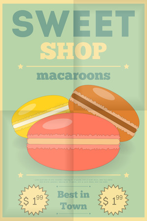 sweet shop: Macaroons. Retro Poster for Sweet Shop. Vector Illustration.