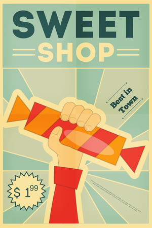 Sweet Shop Retro Poster with Hand Holding Candy. Vector Illustration. Illustration