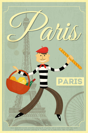 French Retro Card - Frenchman with Basket and Baguette on Background of Eiffel Tower.  Illustration