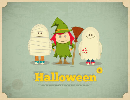 Happy Halloween Retro Card with Witch, Mummy and Ghost.  Vector