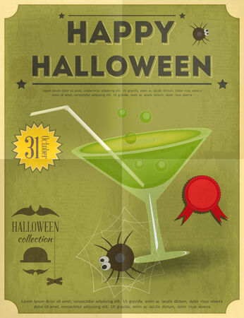 happy halloween: Happy Halloween Party Invitation Card in Retro Style.