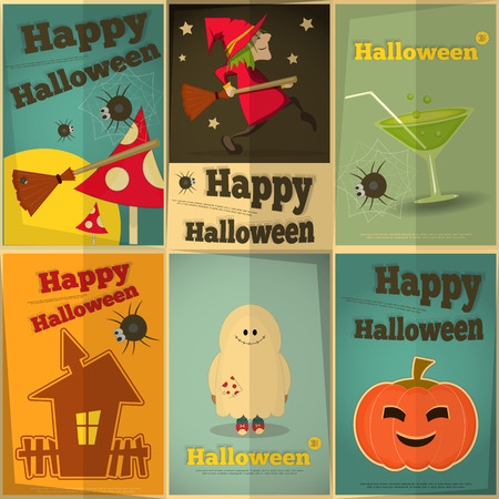 happy halloween: Happy Halloween Retro Posters Set.